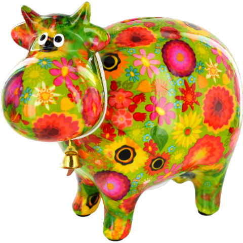 Bella the Cow Green Flowers Ceramic Money Box